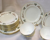Cyber Sale 450 - Gently Used Estate Minton China - Pattern: Glengarry. 10 3-Piece Place Settings with others