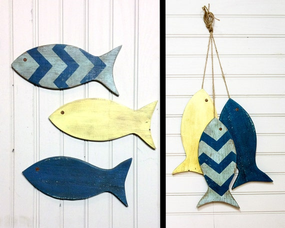 Painted string or school of fish wall hanging by for School of fish wall art