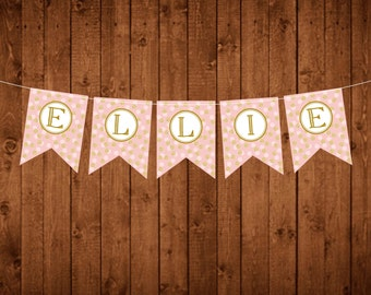 Custom name pink and gold Printable Banner - pink and gold banners - birthday, baby shower, custom name