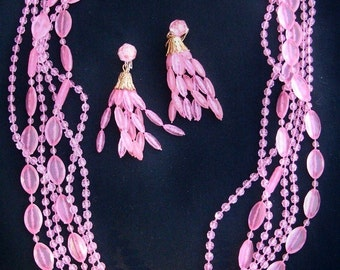 Vintage Pink Plastic Bead Necklace and Earring Set