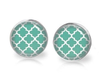 14mm Moroccan Pattern Persian Green Glass Dome Stud Earrings Surgical Stainless Steel Post