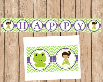 Tiana, Princess and the Frog, Happy Birthday Banner, DIY, Instant Download