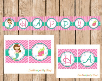 Mermaid Happy Birthday Banner, DIY, Instant Download