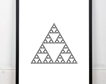 Black and white print, geometric print, Sierpinski triangle print, fractal print, monochrome print, wall decor, instant download, 18x24