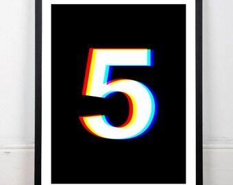 Black print, black wall decor, numbers print, number five print, RGB print, black and white print, instant download, 18x24, 11x14, 8x10