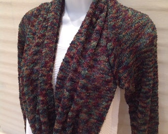 "Knitted Boucle Wool ""Scarfie"" - multi-way scarf/cardigan...."