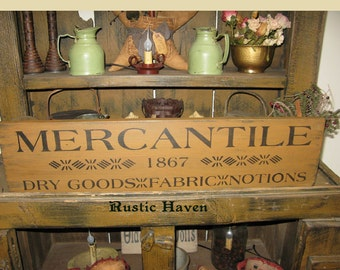 """Primitive~Distressed~Vintage Advertising Style Wood Sign~Mercantile Sign 7.25"""" x 30"""""""