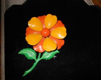 1960s Beautiful Enameled Metal Flower Brooch
