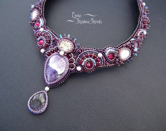 """Necklace """"Ashrafi"""" Bead embroidered necklace Beaded necklace Beadwork collar Purple Violet Embroidered jewelry Beadwork necklace Collier"""