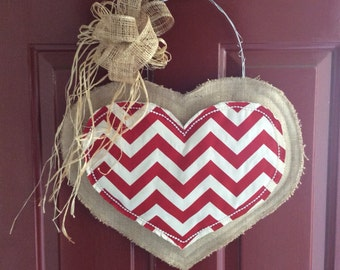Chevron Burlap Heart Valentines Day Door Decoration