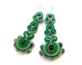 Green earrings, statement earrings, boho earrings, chandelier earrings, dangle earrings, soutache earrings, gray earrings
