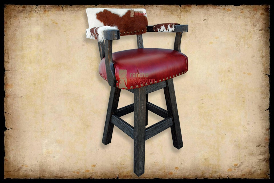 River Swivel Bar Stool With Cowhide Leather By