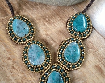 Handmade gold beaded necklace with large blue stone beads/ metal free necklace/ metal free jewelry