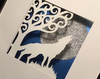 Hand drawn, hand cut, framed, wolf papercut