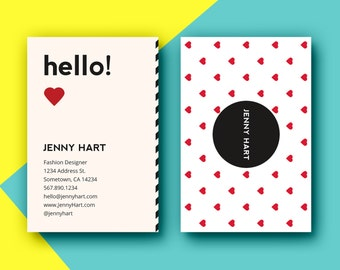 Business Card Template Designs | Customizable Adobe Photoshop Format | Modern, Chic, Playful, Hearts