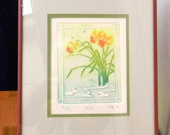 "Embossed Color Print 88 of 200 Called ""Spring"" by Artist Wise             00246"