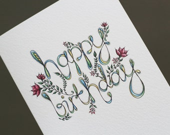 Happy Birthday Illustrated Card (also available as a set of 3)