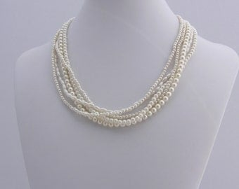 Five Strand Faux Pearl Necklace