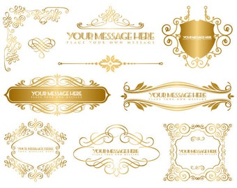 Instant Download Golden Frame Border Clipart Gold Digital Flourish Swirl Frame Clip Art Golden Vintage Frame Scrapbook Embellishment 0047