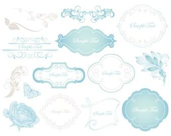 Blue/Grey Digital Frame Clip Art Flourish Swirls Blue Flourish Swirl Frame Blue Flower Grey Flourish Swirl Leaves Wedding Invitation 0118