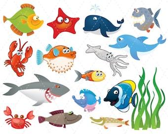 Digital Sea Animal Clipart Sea Animal Fish Clip Art - Whale, Shark, Octopus, Dolphin, Crab, Starfish. Ocean Clipart Fish Clipart 0068