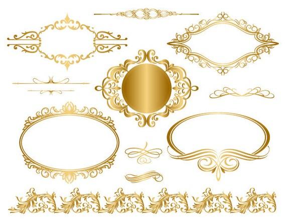 Instant Download Golden Frame Border Clipart Gold Digital ...