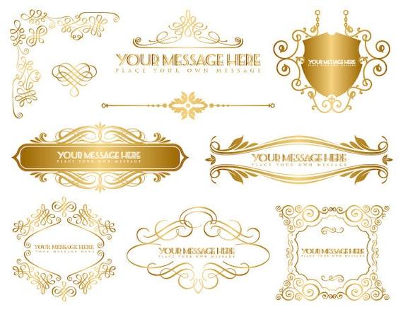 Instant Download Golden Frame Border Clipart Gold Digital