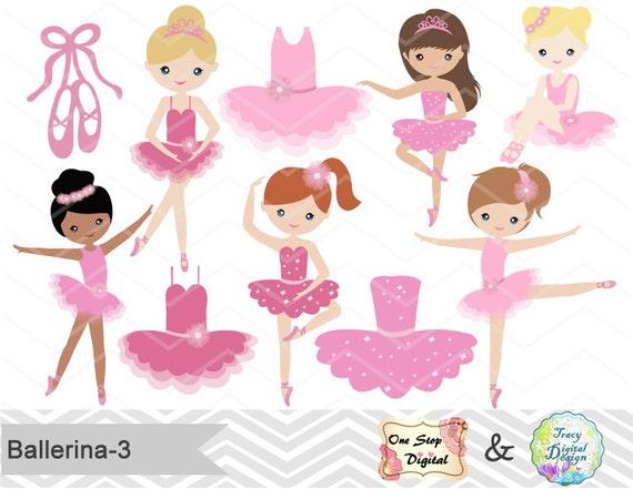 Digital Ballerina Clipart Pink Ballet Girl Clip Art Dancing
