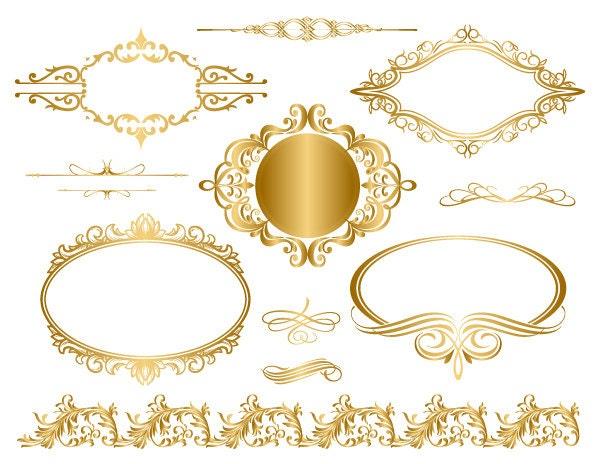 Gold frame clip art | Etsy