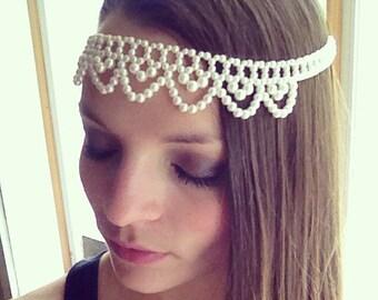 Elegant Beaded Pearl Bridal Wedding Headpiece