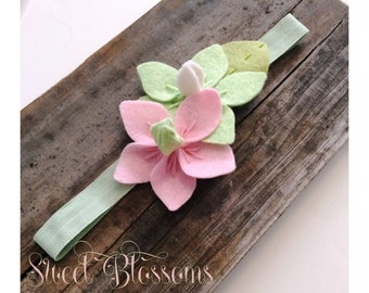 Sweet Blossoms Felt Flower Baby Headband