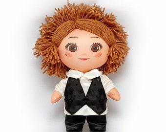 Cloth doll Groom 12'' (30 cm) in wedding dresses. Wedding doll Rag doll Art doll Cloth doll Wedding gift Groom doll Modern doll