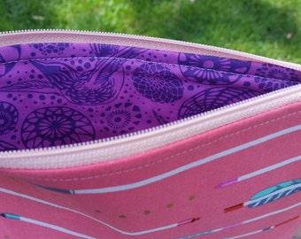 Arrow Cosmetic Bag, Coral Bag, Make Up Bag