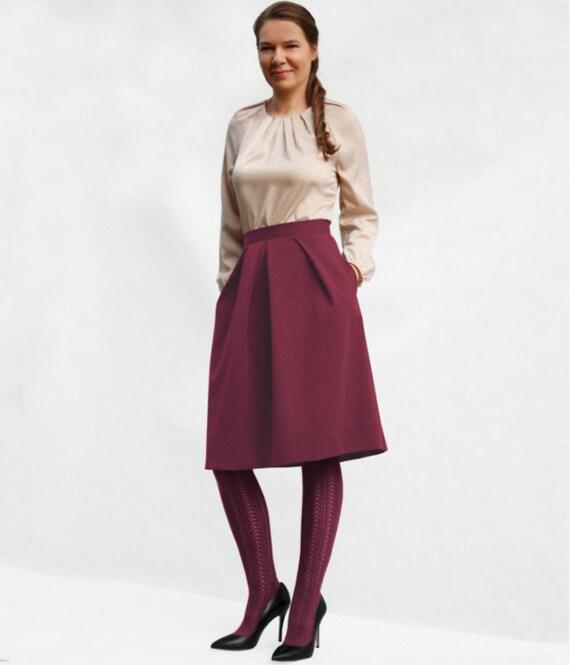 Pleated midi skirt wine midi skirt skirt with pockets knee