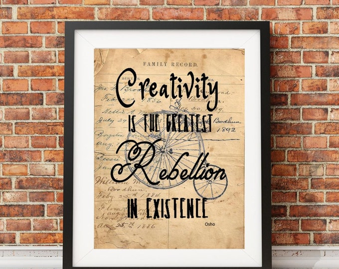 Osho creativity rebellion quote image sign on reproduction of antique ledger paper vintage print wall hanging decoration gift OSHO032