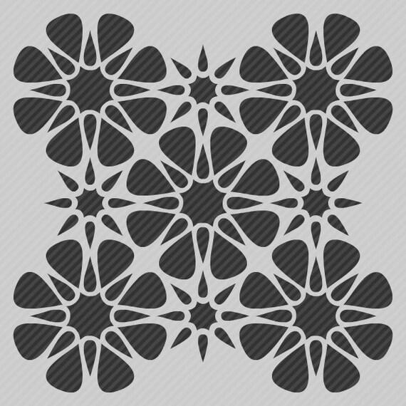 Geometric Flower Stencils : Reusable wall stencil modern floral geometric by stencilmall