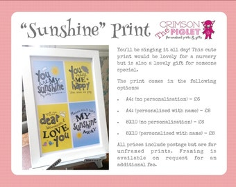 "Personalised ""You Are My Sunshine"" Print (various sizes)"