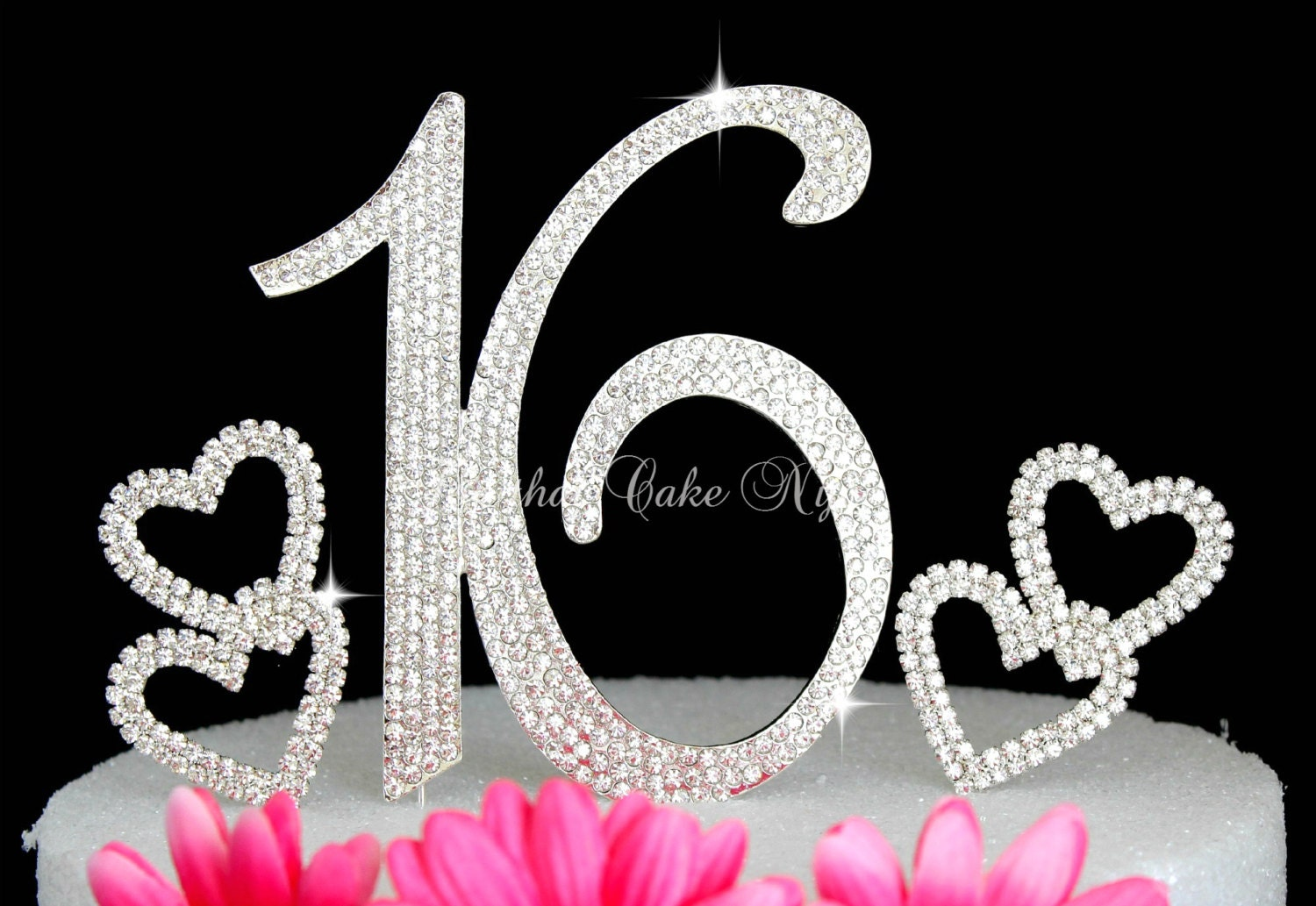 Large Sweet 16 Sixteen Numbers Cake topper Cake pick in silver