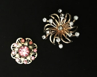 40's Lot of Pink and Clear Rhinestone Pins     VG1088