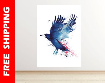 Blue crow wall decal, crow wall sticker watercolor art, crow decal, crow decor, crow print large poster bird artwork by Robert Farkas RF34