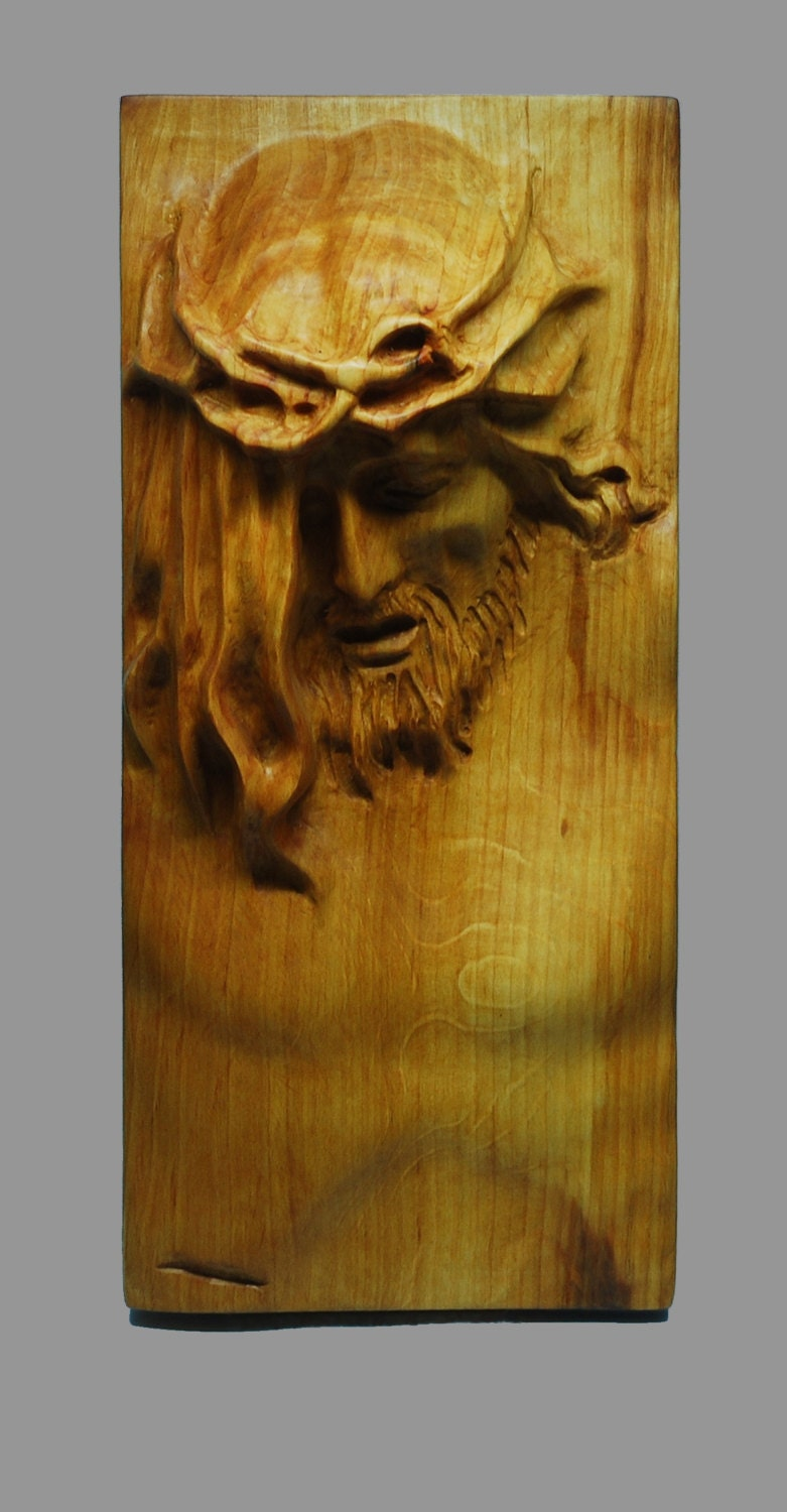 Religious wood carving handmade jesus wall hanging plaque