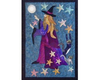 Spellcaster an appliqued and quilted wall hanging pattern.