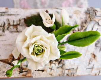 Hair accessory, snowdrop, rose, cold porcelain, barrette flowers, snowdrops jewelry, white flowers, wedding accessories, bride rose