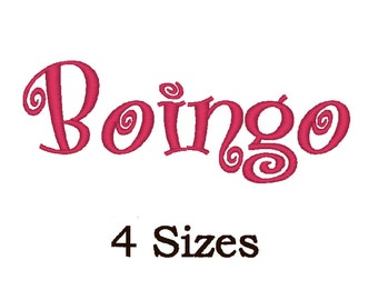 Boingo font for embroidery. SImilar Curlz. 4 Sizes.