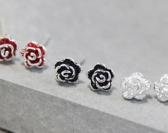 Tiny rose earrings in White, Red and Black.Small sterling silver rose stud errrings. Flower stud earrings