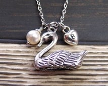 initial necklace, large swan necklace, Swarovski cream pearl, long necklace option, silver swan 3D charm , bridesmaid gift