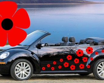 32,Red poppy flower car decals,stickers in three sizes