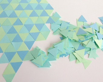 Wedding/Party table confetti, geometric pastel green and blue triangles