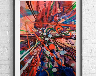 COLLISION Abstract modern wall art print with impact from original mixed media