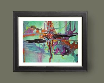 EAU DE NIL, Abstract modern art print from original mixed media